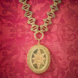 Antique Victorian Locket Collar 18ct Gold On Silver Necklace Dated 1883 COVER