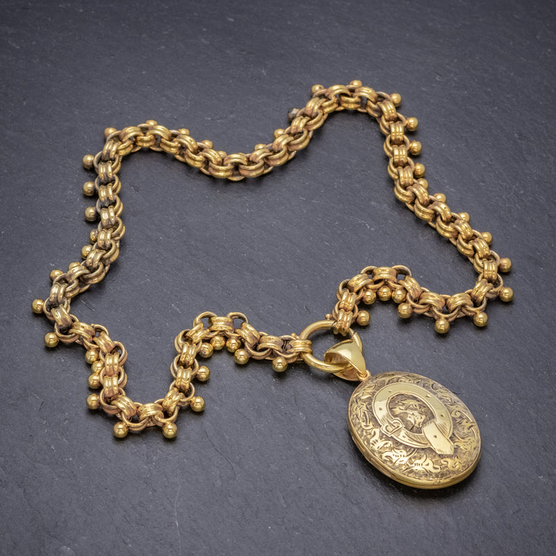 ANTIQUE VICTORIAN LOCKET COLLAR NECKLACE 18CT GOLD ON SILVER CIRCA 1880 top