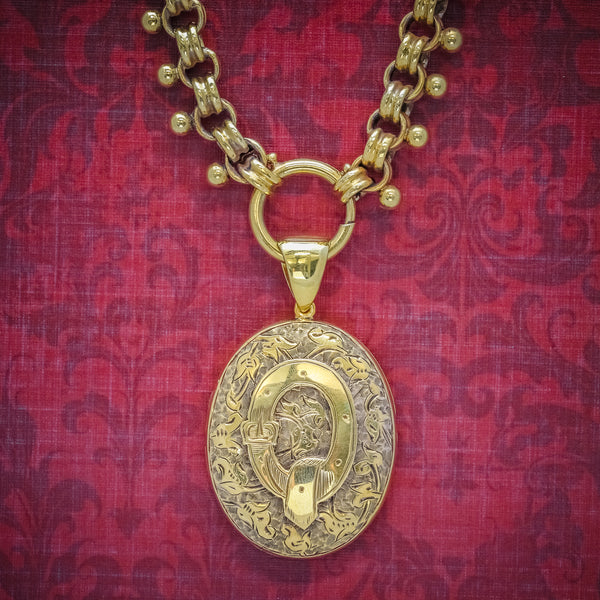 ANTIQUE VICTORIAN LOCKET COLLAR NECKLACE 18CT GOLD ON SILVER CIRCA 1880 cover