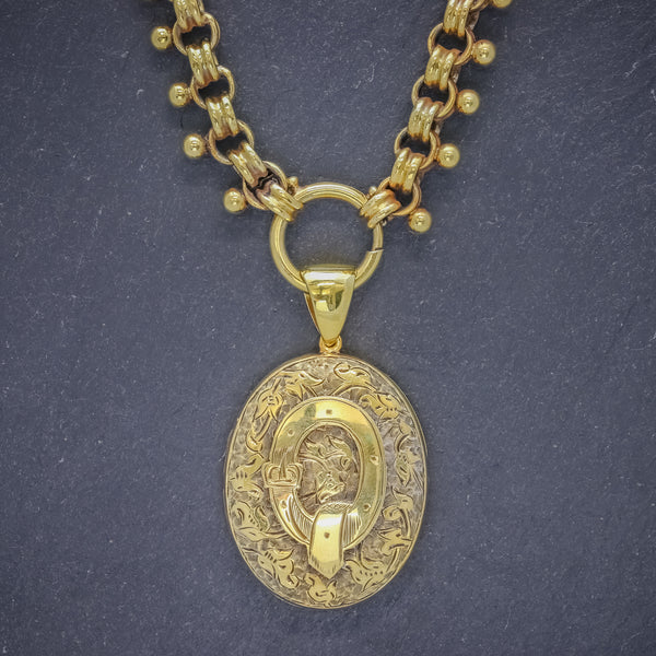 ANTIQUE VICTORIAN LOCKET COLLAR NECKLACE 18CT GOLD ON SILVER CIRCA 1880 FRONT