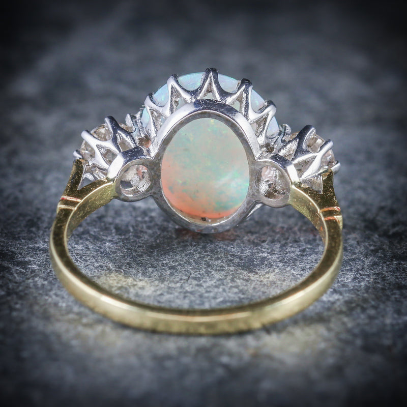 Antique Victorian Opal Diamond Ring 15ct Gold Natural Opal Circa 1900 BACK