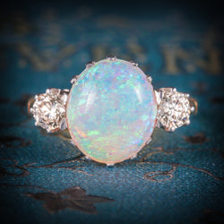 Antique Victorian Opal Diamond Ring 15ct Gold Natural Opal Circa 1900 COVER