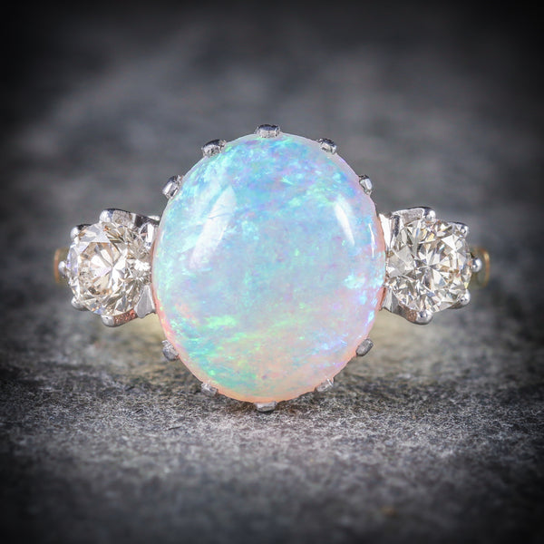 Antique Victorian Opal Diamond Ring 15ct Gold Natural Opal Circa 1900 FRONT