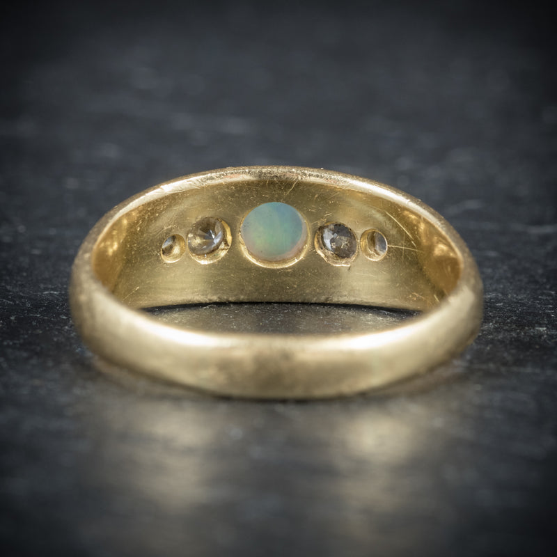 Antique Victorian Opal Ring 18ct Gold Dated Birmingham 1909 back