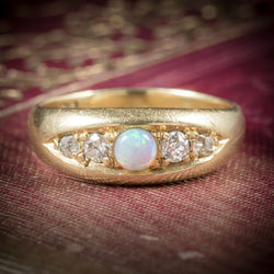 Antique Victorian Opal Ring 18ct Gold Dated Birmingham 1909 cover