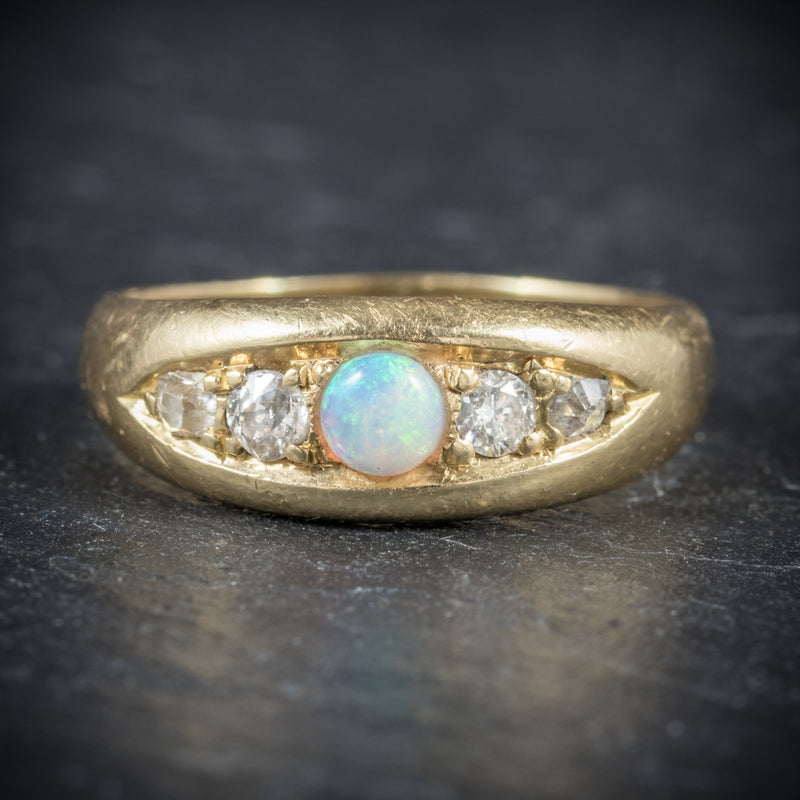 Antique Victorian Opal Ring 18ct Gold Dated Birmingham 1909 front