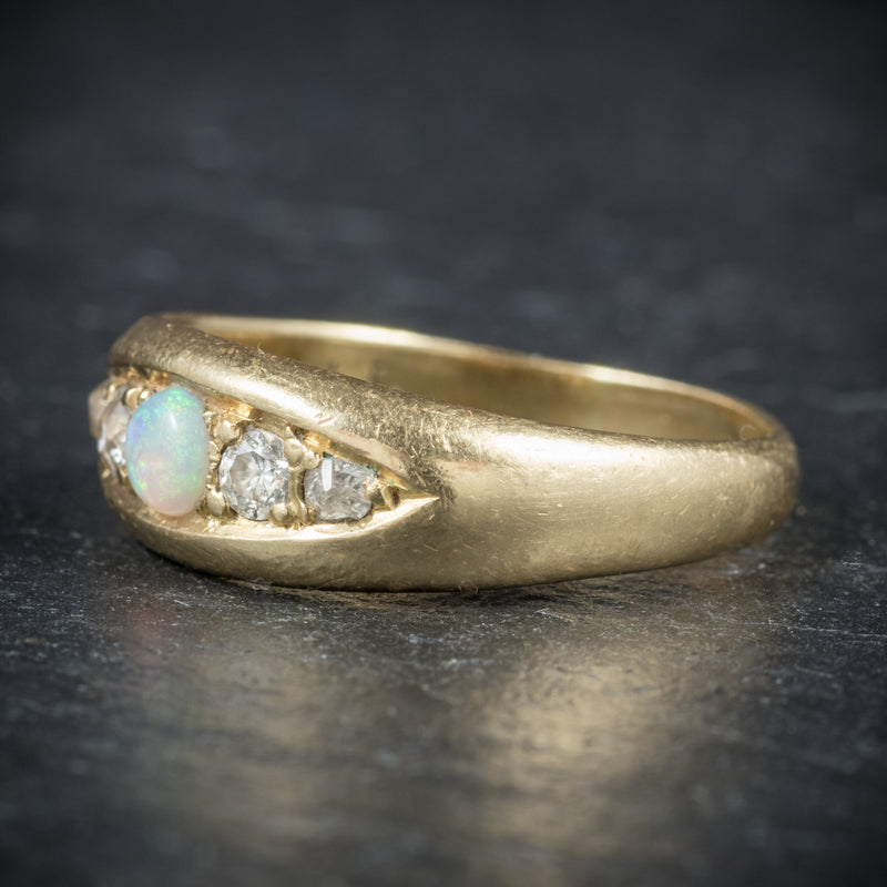 Antique Victorian Opal Ring 18ct Gold Dated Birmingham 1909 side