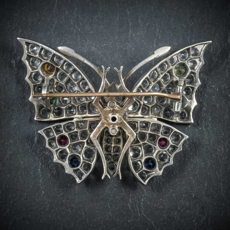 Antique Victorian Paste Butterfly Brooch Silver Circa 1900 BACK