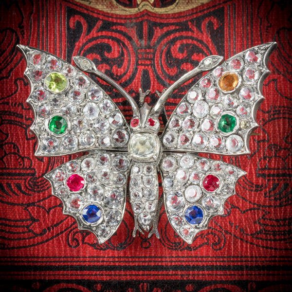 Antique Victorian Paste Butterfly Brooch Silver Circa 1900 COVER