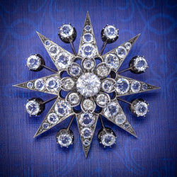 Antique Victorian Paste Stone Star Brooch Silver Circa 1880 COVER