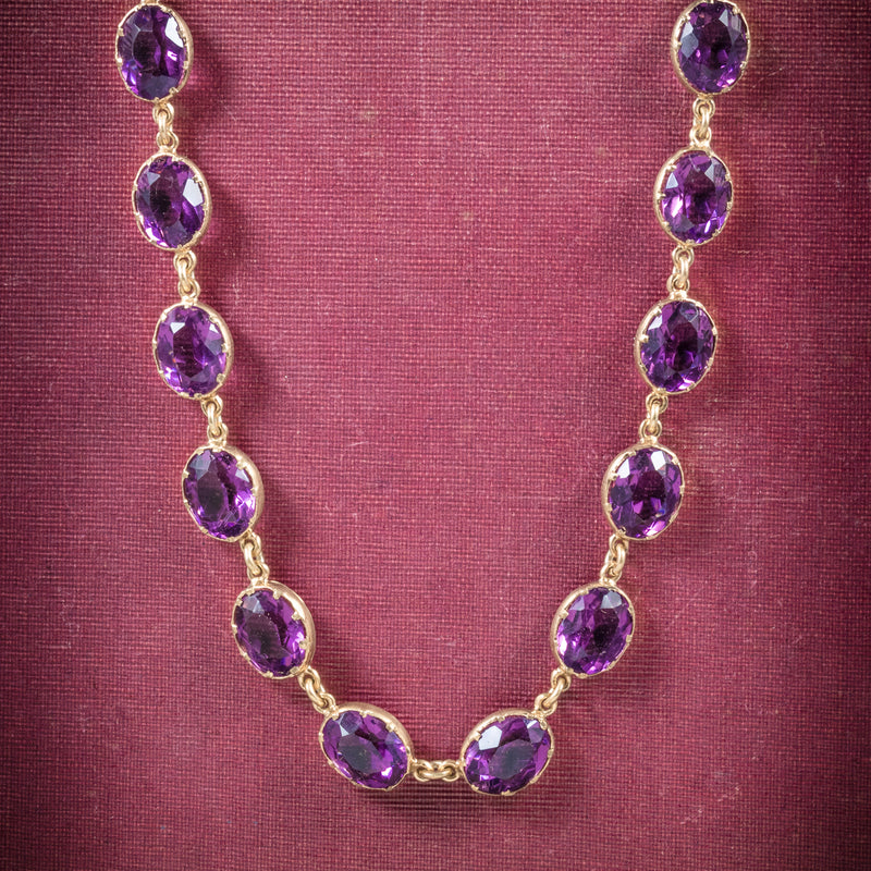 Antique Victorian Purple Paste Necklace 9ct Gold Circa 1880 cover