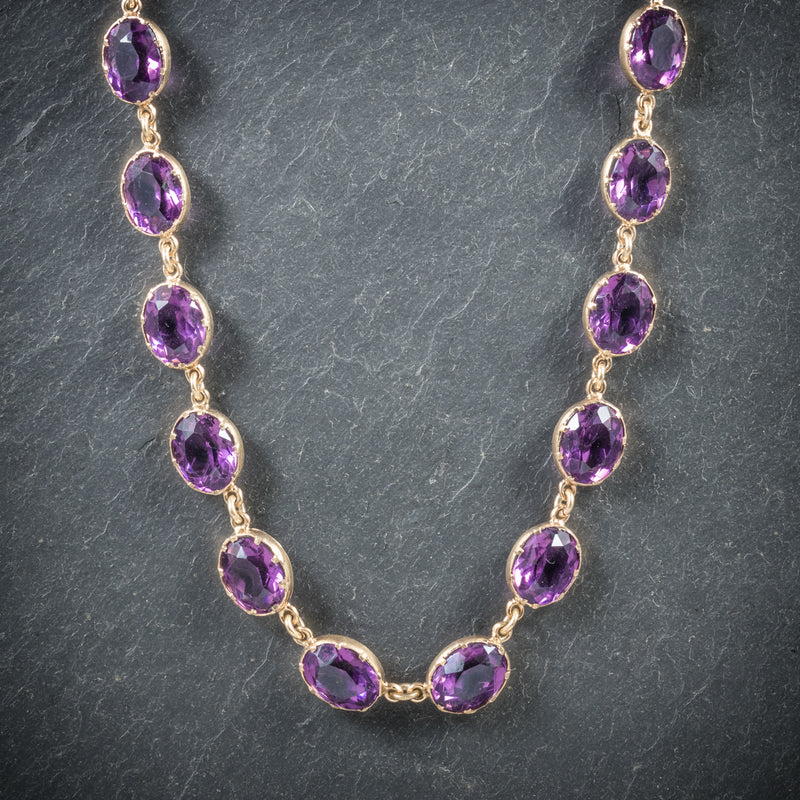 Antique Victorian Purple Paste Necklace 9ct Gold Circa 1880 front