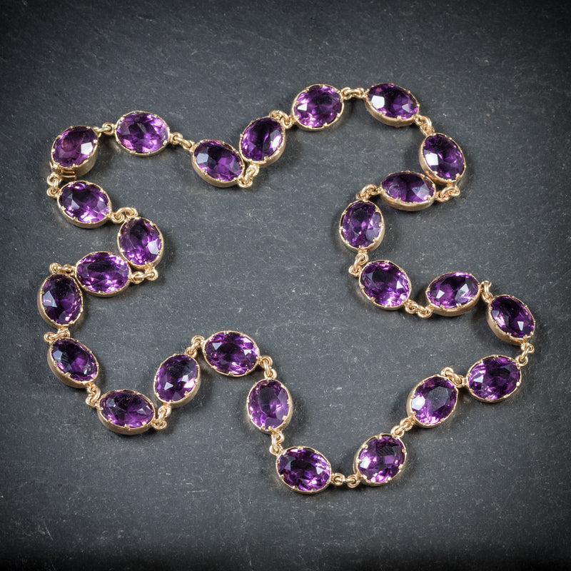 Antique Victorian Purple Paste Necklace 9ct Gold Circa 1880 top