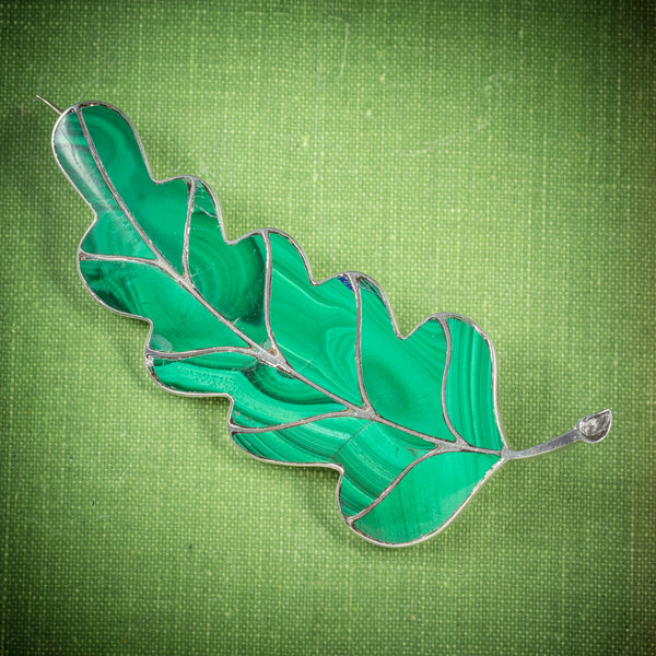Antique Victorian Scottish Malachite Leaf Brooch Silver Circa 1900 cover
