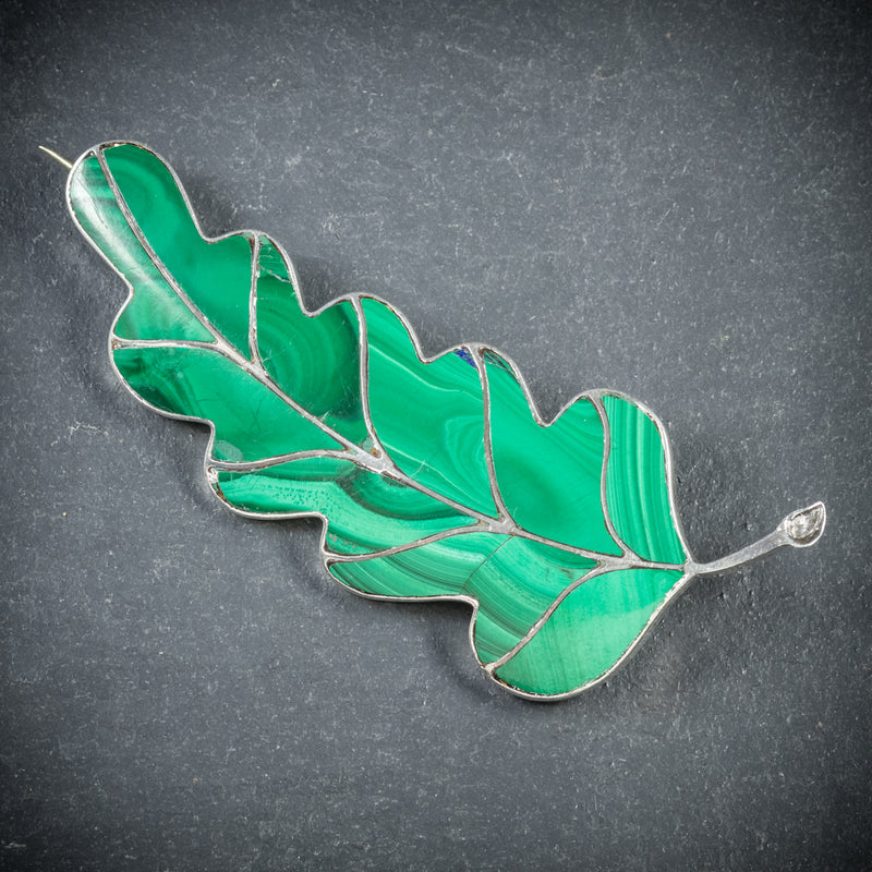 Antique Victorian Scottish Malachite Leaf Brooch Silver Circa 1900 front
