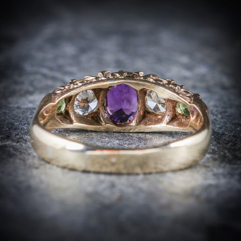 Antique Victorian Suffragette Ring Diamond Amethyst Peridot Circa 1900 BACK