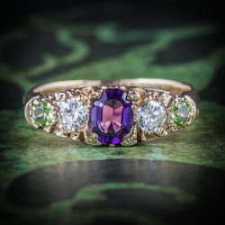 Antique Victorian Suffragette Ring Diamond Amethyst Peridot Circa 1900 COVER