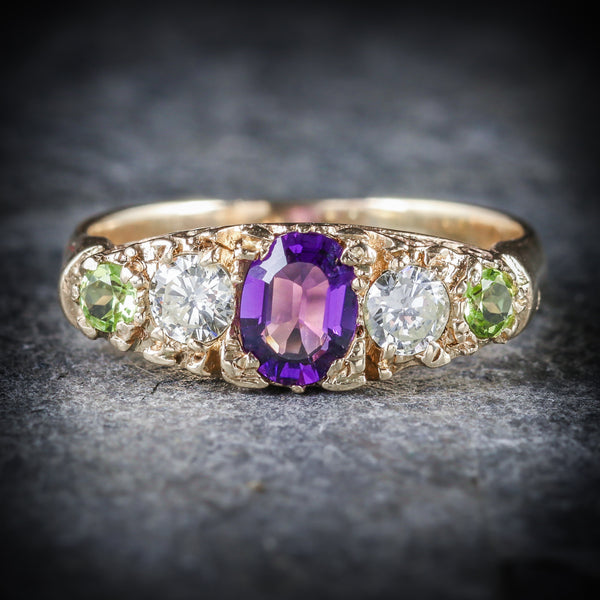 Antique Victorian Suffragette Ring Diamond Amethyst Peridot Circa 1900 FRONT