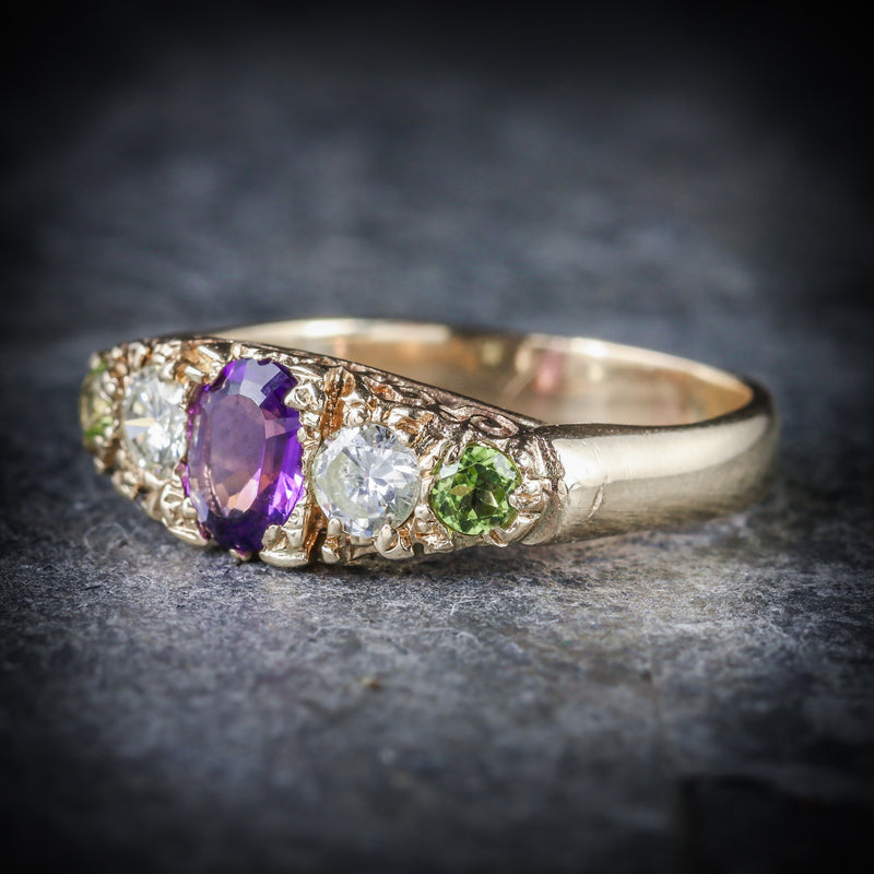 Antique Victorian Suffragette Ring Diamond Amethyst Peridot Circa 1900 SIDE