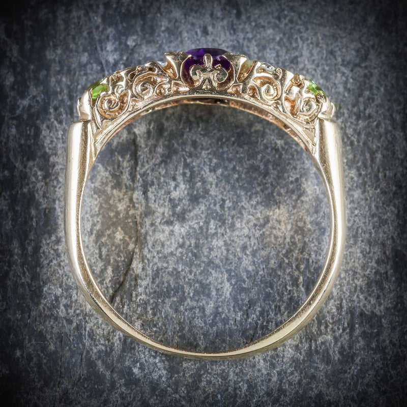 Antique Victorian Suffragette Ring Diamond Amethyst Peridot Circa 1900 TOP