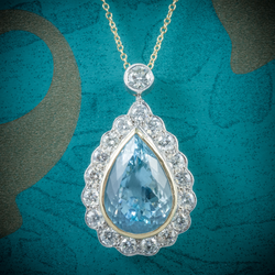 Aquamarine Diamond Pendant Necklace 18ct Gold
