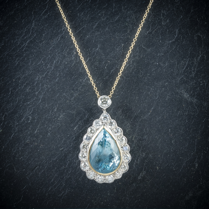 Aquamarine Diamond Pendant Necklace 18ct Gold Top View