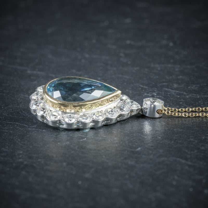 Aquamarine Diamond Pendant Necklace 18ct Gold Side View