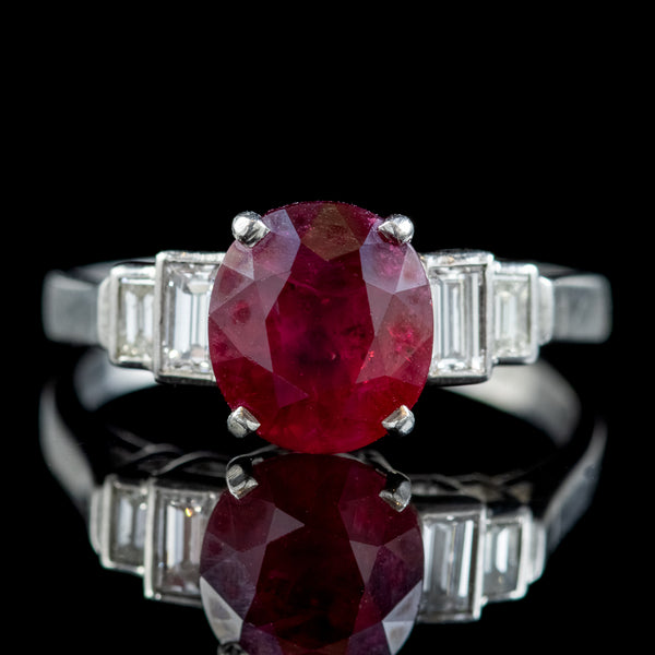 Art Deco French Burmese Ruby Diamond Ring 2.40ct Ruby With Cert