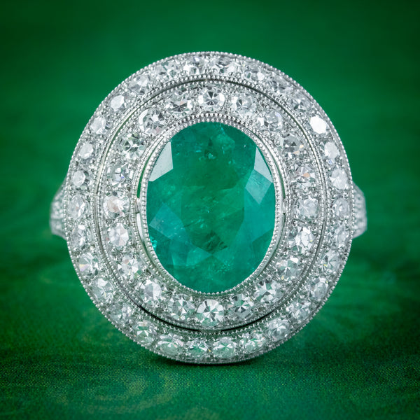 Art Deco Style Emerald Diamond Cocktail Ring 2.39ct Emerald