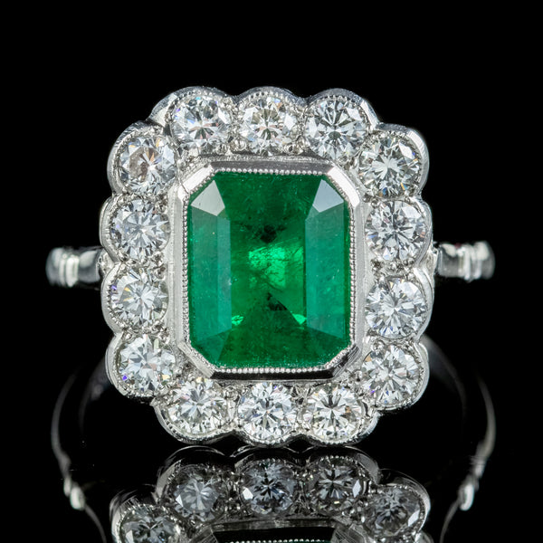 Art Deco Style Emerald Diamond Ring 2.55ct Emerald