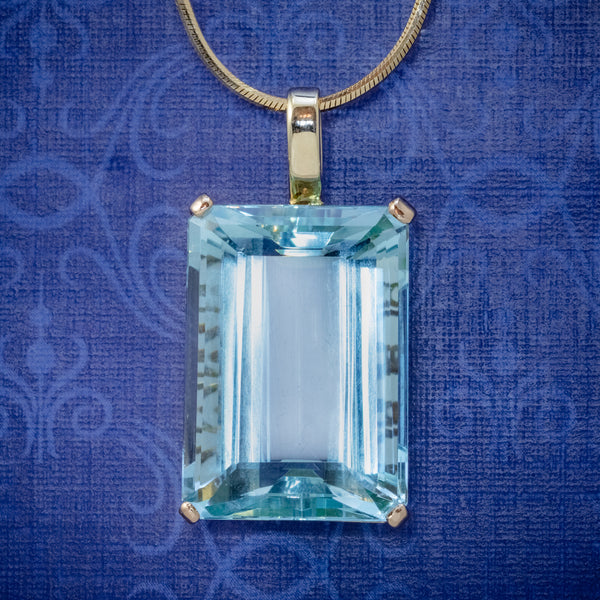 ART DECO AQUAMARINE PENDANT NECKLACE 30CT EMERALD CUT AQUA 14CT GOLD COVER