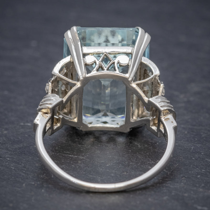 Art Deco 14.89ct Aquamarine Diamond Ring Platinum Circa 1920  back