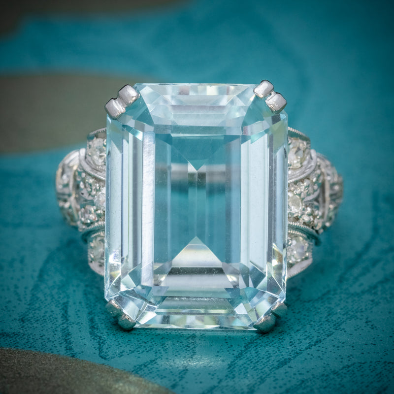 Art Deco 14.89ct Aquamarine Diamond Ring Platinum Circa 1920 cover