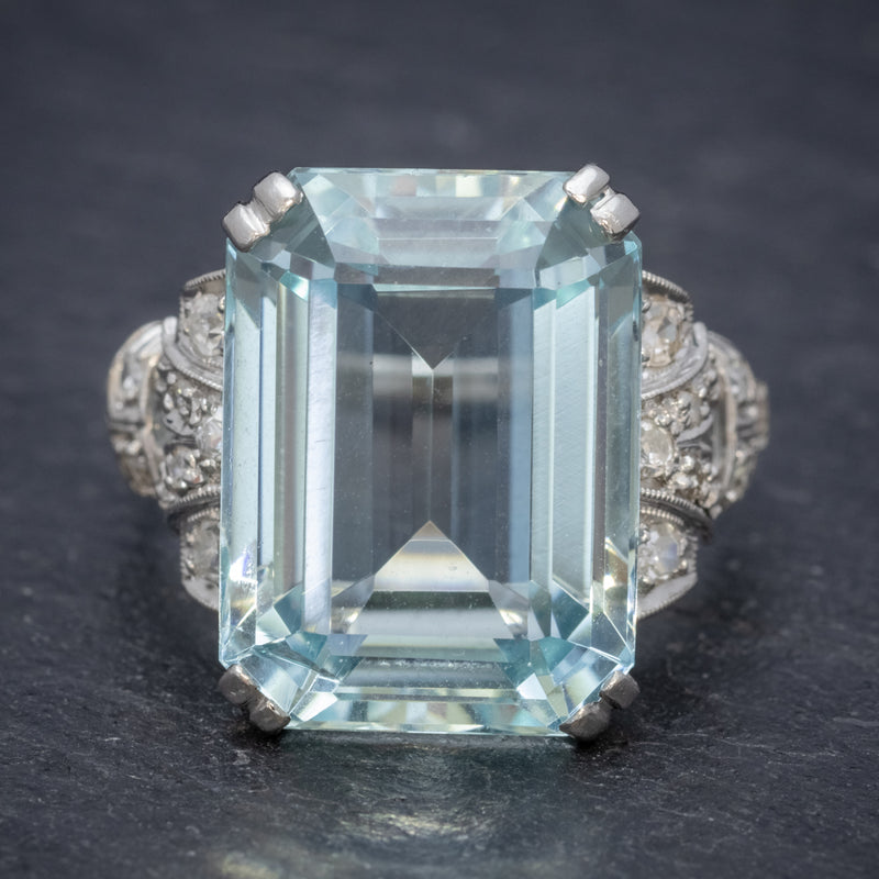 Art Deco 14.89ct Aquamarine Diamond Ring Platinum Circa 1920  front