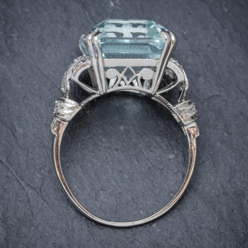 Art Deco 14.89ct Aquamarine Diamond Ring Platinum Circa 1920  top