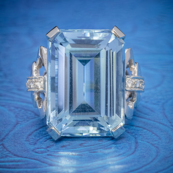 ART DECO AQUAMARINE RING 14CT WHITE GOLD 35CT AQUA CIRCA 1930 COVER