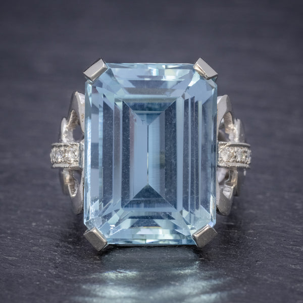 ART DECO AQUAMARINE RING 14CT WHITE GOLD 35CT AQUA CIRCA 1930 FRONT