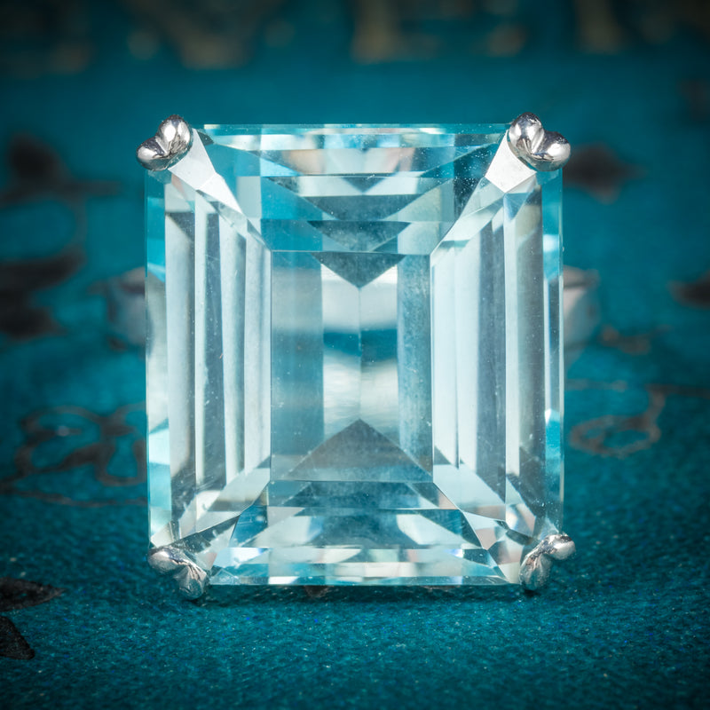 Art Deco Aquamarine Ring 18ct White Gold Circa 1920 cover