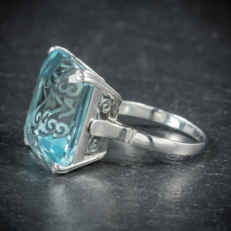 ART DECO AQUAMARINE RING 18CT WHITE GOLD CIRCA 1920 side