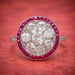ART DECO RUBY DIAMOND RING PLATINUM 1.80CT OF DIAMOND CIRCA 1930 cover
