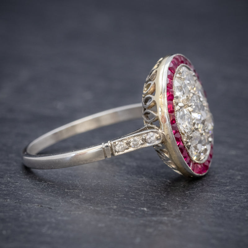 ART DECO RUBY DIAMOND RING PLATINUM 1.80CT OF DIAMOND CIRCA 1930 side2