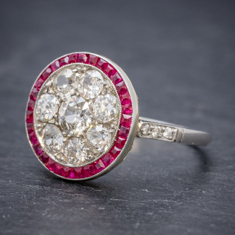 ART DECO RUBY DIAMOND RING PLATINUM 1.80CT OF DIAMOND CIRCA 1930 side