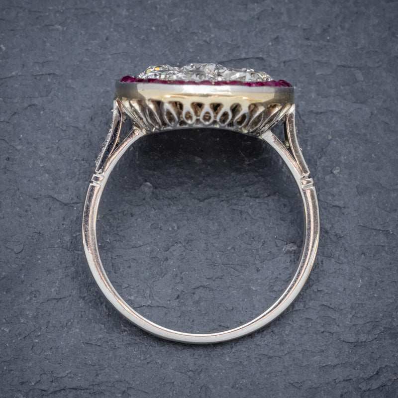 ART DECO RUBY DIAMOND RING PLATINUM 1.80CT OF DIAMOND CIRCA 1930 top