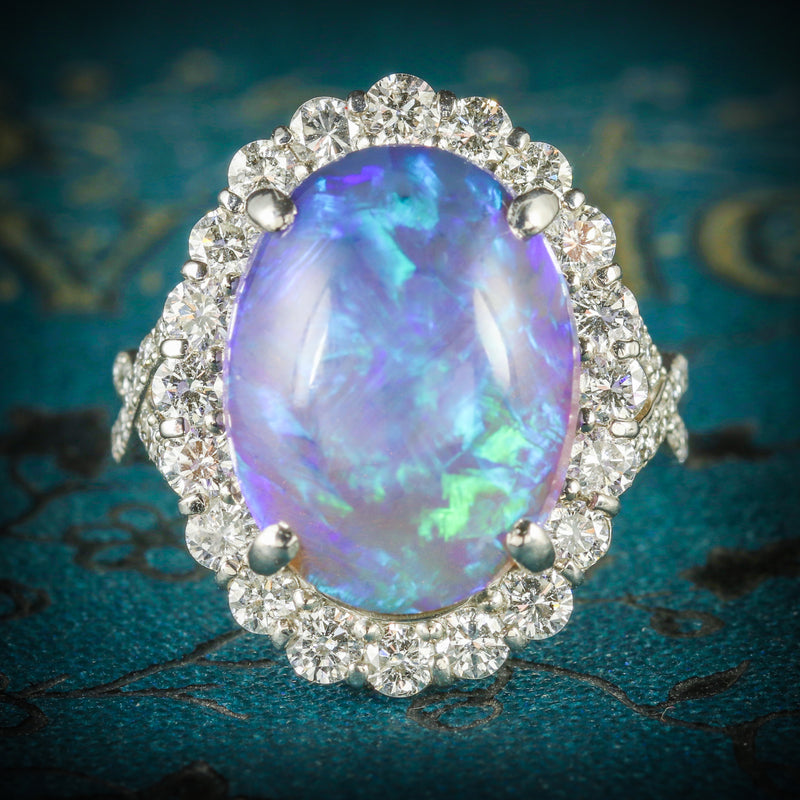 BLACK OPAL DIAMOND RING PLATINUM 16CT BLACK OPAL COVER