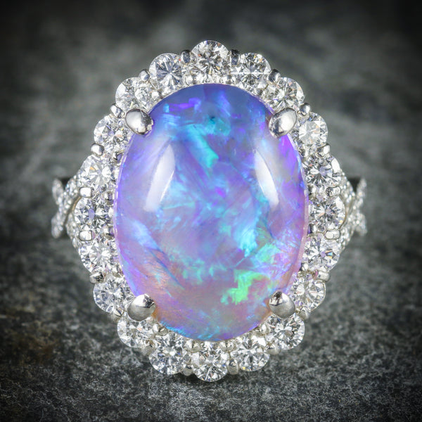 BLACK OPAL DIAMOND RING PLATINUM 16CT BLACK OPAL FRONT