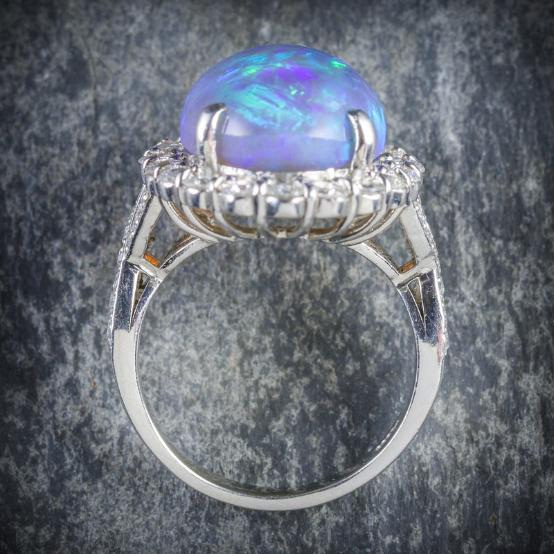 BLACK OPAL DIAMOND RING PLATINUM 16CT BLACK OPAL TOP