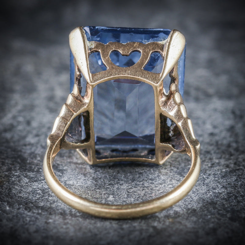 BLUE TOPAZ COCKTAIL RING 9CT GOLD CIRCA 1940 BACK