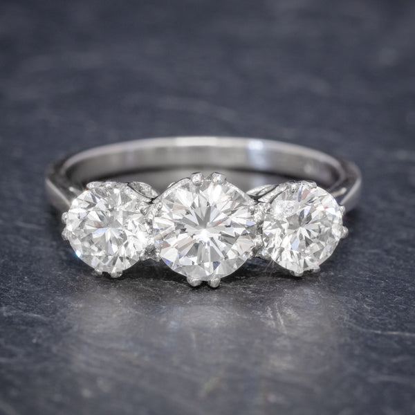 BRILLIANT CUT DIAMOND TRILOGY ENGAGEMENT RING PLATINUM 2.35CT OF DIAMOND CERT FRONT