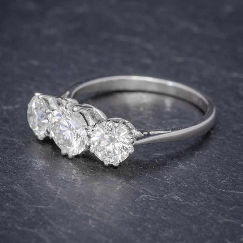 BRILLIANT CUT DIAMOND TRILOGY ENGAGEMENT RING PLATINUM 2.35CT OF DIAMOND CERT SIDE