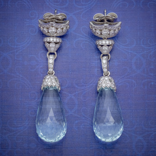 BRIOLETTE CUT AQUAMARINE DIAMOND DROP EARRINGS 18CT GOLD 25CT AQUAS 2.50CT OF DIAMOND COVER
